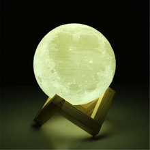 Rechargeable 3D Printing Moon Lamp 2 Color Changing Switch Touch Room Bookcase Night Light Home Decor Creative Gift(China)