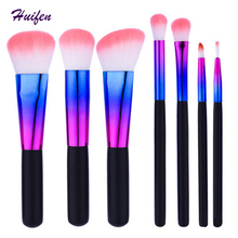 Copper 7 pcs Makeup Brush Set Foundation Powder Blusher Cosmetic Brush Round Colorful Pinceaux Maquillage 100sets/lot (YP0204)(China)