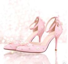 Women Shoes Pink Pointed Satin Flower Bridal Shoes Diamond High With Thin Heel Dress Shoes Wedding Shoes Word Strap Sandals
