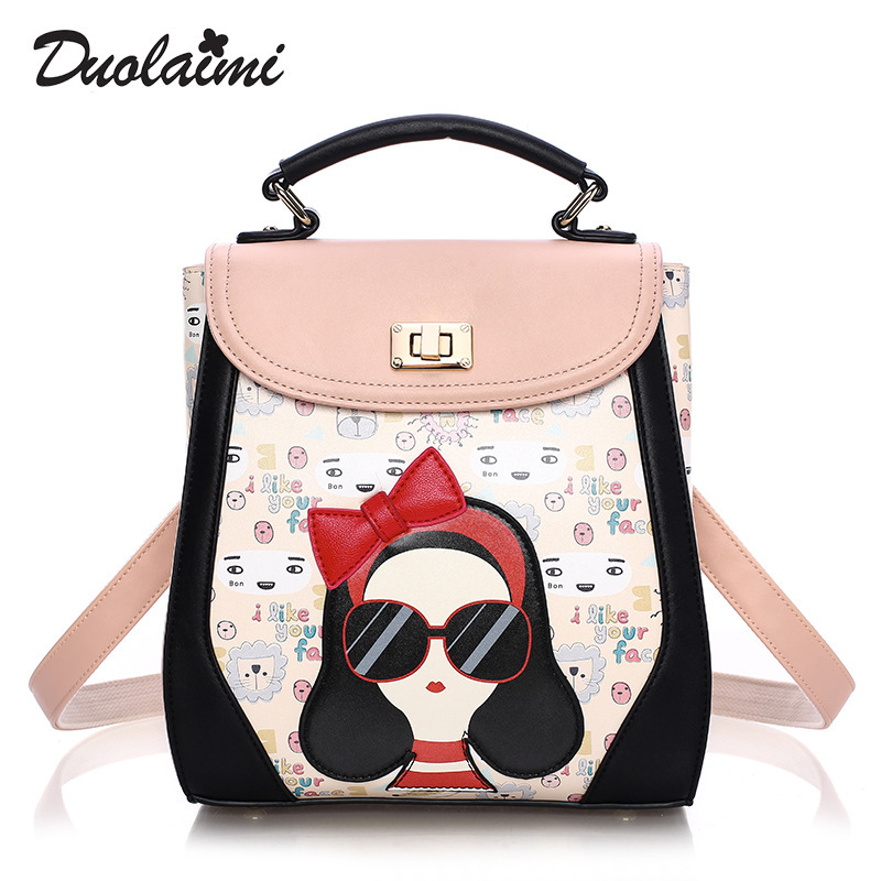 DUOLAIMI Casual Shopping Bags New Fashion Ladies Travel Backpack Fashion Cute Girls Printing PU Leather Bag New Women Backpacks<br>