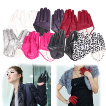 Fashion Hot Lady Woman Tight Half Palm Gloves Imitation Leather Five Finger 4 Color Avaliable DM#6