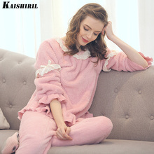 KAISHIRIL Winter Women's Pajamas Warm Flannel Thickened Pyjamas Women Lovely Court Pink Lace Pajamas For Women Pajama Sets(China)