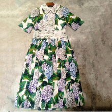 Brand Dress 2017 Women Summer Floral Print Silk Dress High Quality Vintage Pleated Dresses Woman(China)