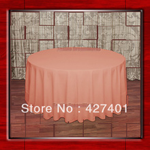 "Hot Sale  132"" R  Coral Round Table Cloth Polyester Plain Table Cover for Wedding Events &Party Decoration(Supplier)"