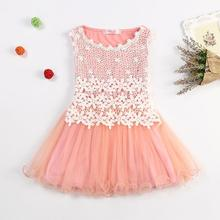 2017 Summer New Lace Flowers Girls Dresses High Quality Wear Toddler TuTu Girls Dresses Clothing Hollow Mesh Kids Dress(China)
