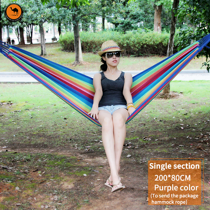 High Strength Portable Hammock 200*80cm Backpacking Hiking Woven Cotton Fabric Purple&amp;Pink Striped Camping Outdoor Furniture<br>