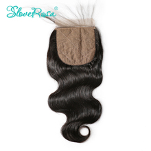 Slove Rosa Silk Base Closure Body Wave Brazilian Remy Human Hair 4x4 Middle Brown Lace Free Part Bleached Knots With Baby Hair