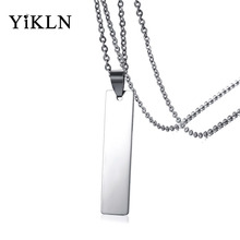 YiKLN Brand 43MM Stainless Steel Long Pendant Necklaces Casual Silver Color Men's Pendants Can Be Engraved Dropshipping YPN918S(China)
