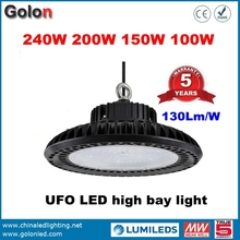 Golden supplier factory low price 5 years wararnty 130Lm/W IP65 wateproof 240W 200W 160W 100W high bay LED industrial light