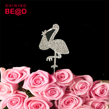 30pcs/lot+New Arrival Bird Cake Topper Crystal Rhinestone Bird shape Wedding Cake Topper /Wedding Favor(China)