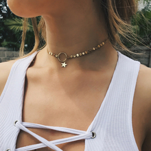 Buy LWONG 2017 New Style Women Gold Color Coin Star Chain Choker Necklace Summer Fashion Chain Chokers Necklaces Dainty Chain Choker for $1.79 in AliExpress store