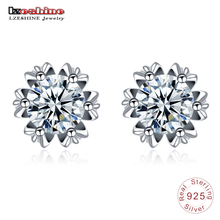 Buy LZESHINE S925 Sterling Silver Dazzling Cubic Zircon Stud Earrings Women Fashion Wedding Jewelry Bridal Flower Earrings for $3.86 in AliExpress store