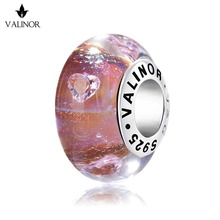 Heart zircon dark red flash murano glass beads charms 925 Sterling Silver fit Bracelets for Women Jewelry Trendy JKLL005(China)