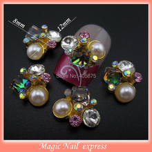 MNS382  New 3d alloy nail designs pearl rhinestone nail art charms for nails cellphone scrapbooking decorations DIY 10pcs