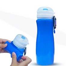 New Blue 450ml Eco-Friendly Silicone Travel Sport Flexible Collapsible Water Bottles Foldable Drinkware
