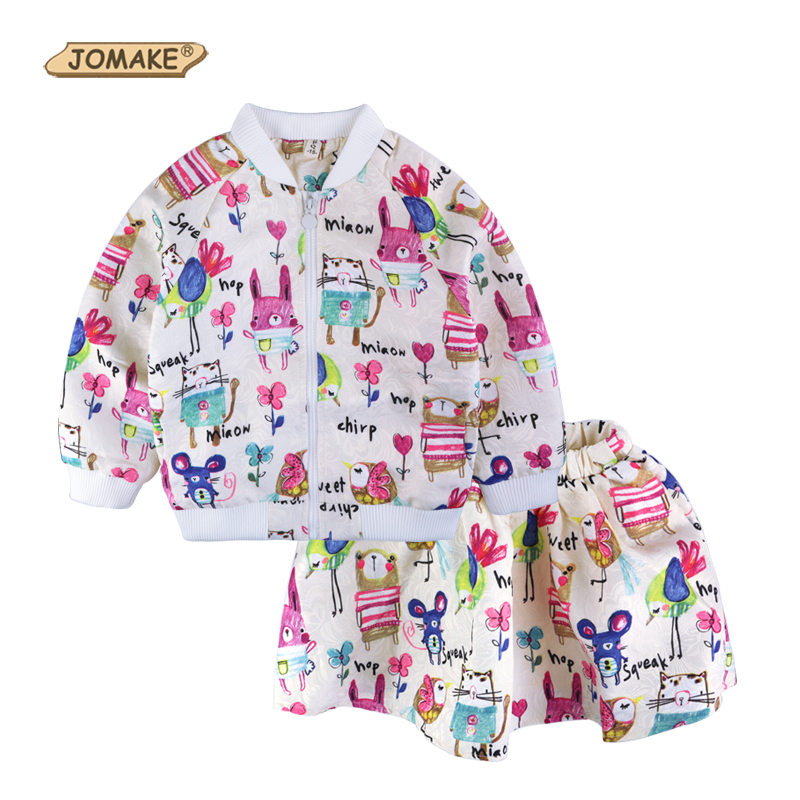Spring Autumn Girls Clothing Sets Cartoon Printed Brand Kids Outwear Set Animal Graffiti Baby Girl Jacket+Skirt Sports Suit 2-8Y<br><br>Aliexpress