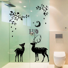 60*90 cm Black Wall Sticks For Bathroom Kitchen Door Window Deer Moon Night Landscape Sticks For Home Decoration Accessories