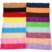 18pcs 3.5cm wide lace bands made of knitted soft material in floral pattern for headbands DIY 18 colors for choice