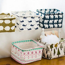 Foldable Waste Bin Storage Closet Toy Box Container Agenda Fabric Shopping Cart Pine Flowers Polar Bear hedgehog Whale
