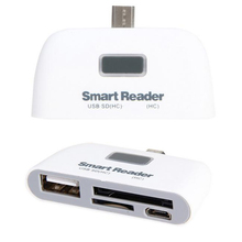 White 4 in 1 USB 2.0 SD Smart Card Reader Usb SD Card Adapter TF OTG Card Reader With Micro USB Charge Port For PC