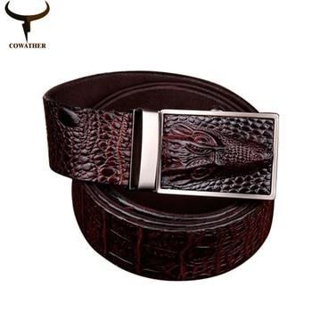 Cowather 2016 buena calidad de la vaca cinturones de cuero genuino para los hombres patrón de cocodrilo hebilla automática hombres cinturón envío gratis