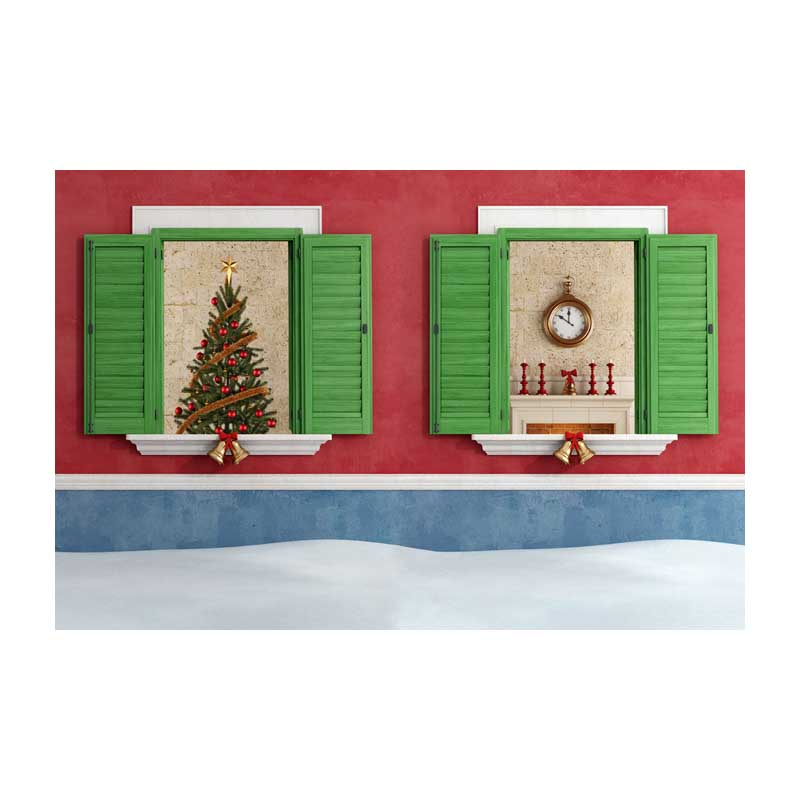 Horizontal vinyl print red wall Christmas house photography backdrops for family photo studio portrait background ST-468<br>