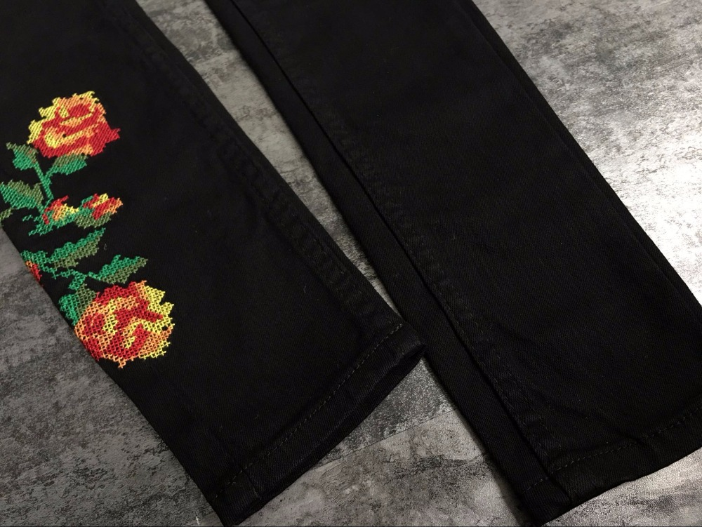 Hot Sexy High Waist Denim Stretchy Black Jeans Embroidery Rose Fashion Skinny Full Length Bodycon Tight Women Pencil Jeans Femme (21)
