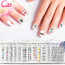 QZC 12 Pcs Colorful Mixed Flower Nail Stickers Decorations Wraps Nail Tips Manicure Nail Art Stickers fashion & Professional