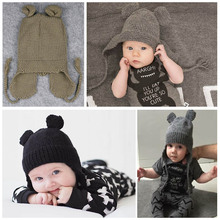 New Creative Hat Children Animal Shaped Hats Ear Protect Mickey Mouse Knitted Cap for Baby Boys and Girls(China)