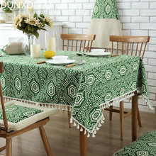 DUNXDECO Tablecloth  Cotton Blend Table Cover Fringes Party Decoration Mesa Fabric Bohemia Pattern Green Geometric