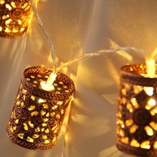 Steel Retro Round Lantern Battery Operated Led Fairy String Christmas Lights DIY for Christmas Xmas Tree Wedding Party Decor
