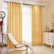 1.35*2.5m Classic Golden Jacquard Curtains Sheer Window Curtains For Balcony Living Room Bed Room T30
