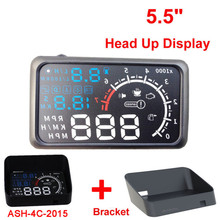 "4C-2015 OBD II Car HUD 5.5"" Head UP Display OBDII Car Styling Car Kit Fuel Overspeed KM/H Pro with Anti-slip Pad With Bractket"