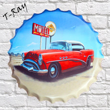 40x40cm Vehicle Automobile Motor Car Motel round bottle cap Tin Signs Metal Poster Plate Declas Mural RD-24
