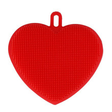 Heart Shape Magic Silicone Dish Bowl Cleaning Brushes Scouring Pad Pot Pan Wash Brush Potato Carrot Cleaner Kitchen Accessories(China)