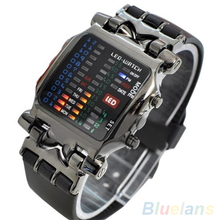 Unisex Binary LED Digital Date Square Dial Casual Sport Plastic Band Wrist Watch  3WFM
