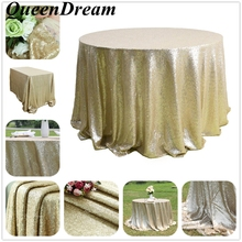 Custom Gorgeous 108 Inches Round Outdoor Matte Gold Sequins Tablecloth for Weddings decoration