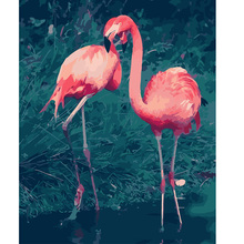 DIY digital oil painting by numbers hand painted for home wall decor flamingos 40*50cm christmas decoration(China)