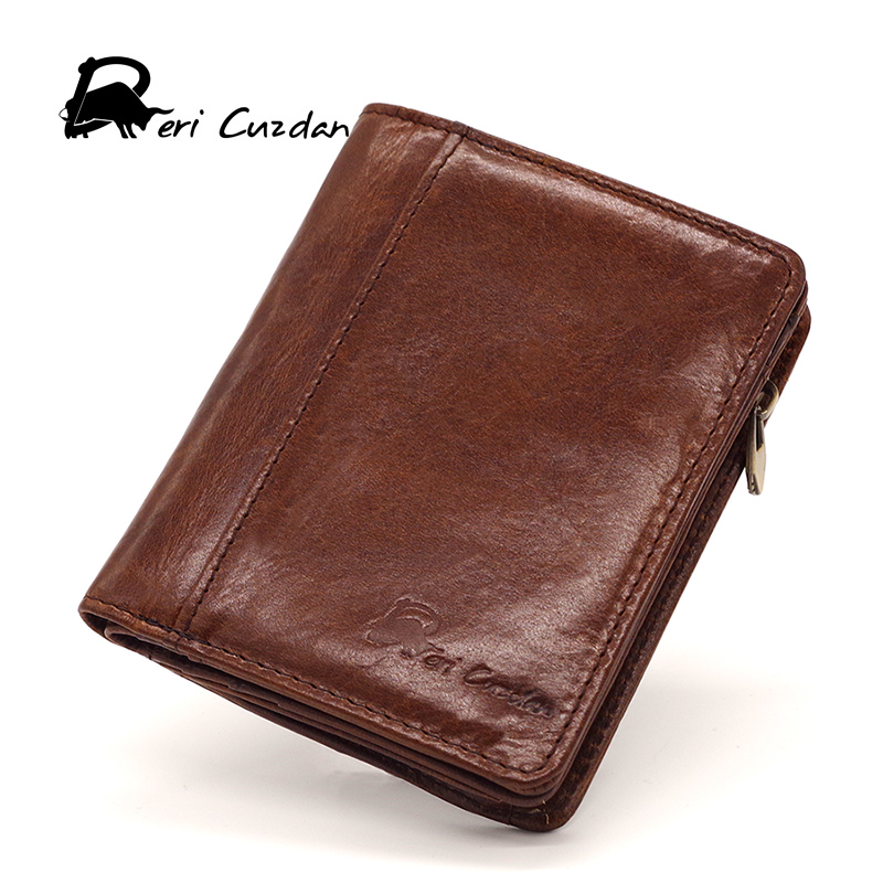 DERI CUZDAN Male Purse Coin Bag Zipper and Hasp Wallet Men Casual Short Wallet Vintage Top Cowhide Leather Cool Wallets Bifold(China)