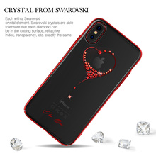 Case For Apple iPhone X Original Kingxbar High Quality Electroplated Hard PC With Crystals from Swarovski Rhinestone Case Cover(China)