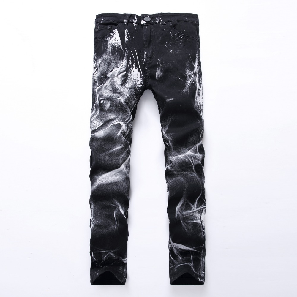 2017 New Arrival Mens fashion wolf print stretch denim jeans Slim black painted straight pants Long trousers,YA335Одежда и ак�е��уары<br><br><br>Aliexpress