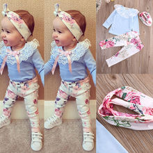 2016 baby girls clothes lace Flower Pattern long sleeve t shirt + pants + headband 3pcs suit newborn baby boy girl clothing set