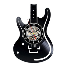 Free Shipping 1Piece Musical Instruments Electric Guitar Design Vinyl Record Wall Clock Unique Modern Handmade Art Time Clock