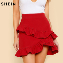 Buy SHEIN Elegant Ruffle Hem 2018 Summer Women Skirts Solid Red High Waist Short Skirt Asymmetrical Layered Ruffle Skirt for $14.97 in AliExpress store