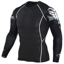 2017 Mens MMA Fitness T Shirts Fashion 3D Teen Wolf Long Sleeve Palace Compression Shirt Bodybuilding Crossfit Brand Clothing