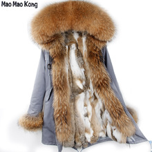 MaoMaoKong Women Large Raccoon Fur Collar Real Rabbit Fur Parka Detachable Jacket Full Rabbit Fur Liner Long Winter Coats(China)