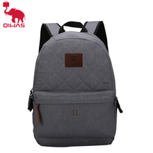 Oiwas School Bag Denim Fabric Leisure Style Laptop Backpack Dual Thicken Electronic Product Interlayer Multi-function Unisex Bag(China)
