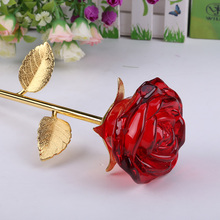 JQJ Crystal Glass Rose Flower Figurines Craft Wedding Valentine's Day favors and gifts Souvenir Table Decoration Ornaments Cheap(China)