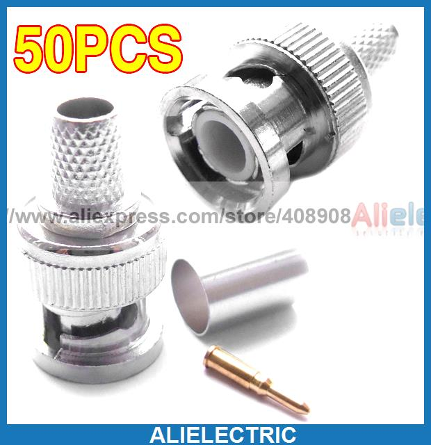 50 Sets 3 Piece RG 59 BNC Male Crimp Connector Plugs 59<br>