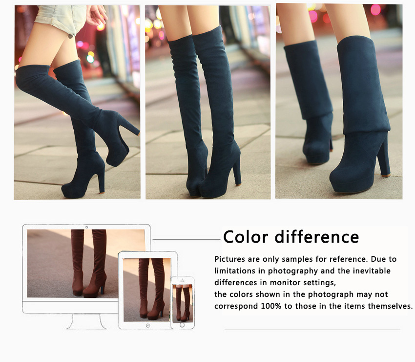 New Women's Boots, Sexy Fashion Over the Knee Boots, Sexy Thin Square Heel, Boot Platform Woman Shoes 40
